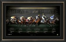 Greats of the Cox Plate Signed Lithograph Frame Childs Bowman Winx Kingston Town