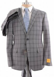 Hickey Freeman NWT Suit Size 40R In Gray With Black Plaid Hamilton $1,795