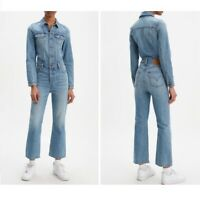 Levi's Women's Kickflare Jumpsuit Light Blue Wash Denim New With Tags M $168