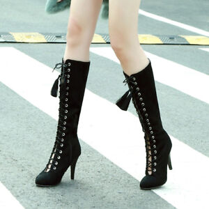 Womens Zip High Heel Lace Up Knee High Boots Casual Shoes AU Plus Size 2-13