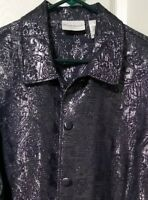 Alfred Dunner Womens Size 18 Paisley 3/4 Sleeve Button Front Metallic Jacket EUC