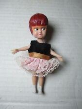 "1970s Dolly Darlings 4.5"" Miss Merry Red Hair Black Pink Dress Mini Doll Hasbro"