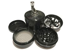 "SharpStone® 2.5"" Inch Version 2.0 4pc Crank Top Herb Large Black Grinder Extras"