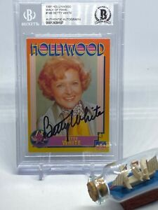 Betty White signed 1991 Hollywood Trading Card Beckett BAS Slabbed Auto C691
