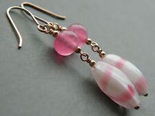 Vintage Raspberry Ripple Swirl & Pink Satin Glass & Rolled Rose Gold Earrings