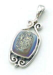 Sajen India Sterling Silver 925 Opalized Window Druzy Pendant