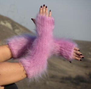 FUZZY MOHAIR hand knitted LIGHT PINK fingerless gloves handwarmers Soft Fluffy
