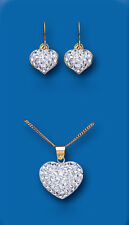 Heart Pendant and Earrings Yellow Gold Austrian Crystal British Made Hallmarked