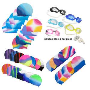 Swimming cap goggle nose ear plug silicon swim pool hat adult child boy girl
