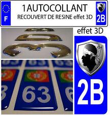 1 adesivo targa auto TUNING 3D RESINA STEMMA CORSICA DIPARTIMENTO 2B