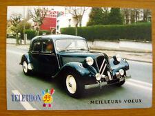"""CITROËN Traction """"11 CV """" 1952 téléthon 1999 Carte postale Voeux CP Automobile"""