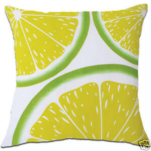 lime citrus fruit tropical green white cushion covers