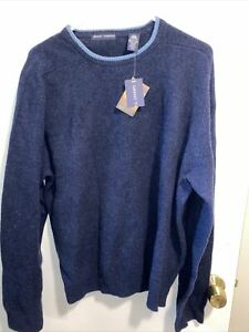 NWT Grant Thomas Men's Italian 100% Lambswool Cable Knit Blue Sweater Size XL