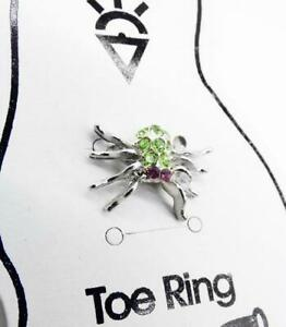 ADORABLE Sparkle Silver Green Crystals SPIDER Invisible Stretch PETITE Toe Ring