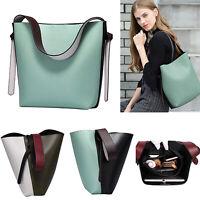 Color Blocking Bucket Bag Leather Tote Handbag Women Shoulder Bag Shopping Purse