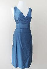 New Ann Taylor Sleeveless Blue Silk V Neck Blue Formal Bridesmaid Dress 12 Large