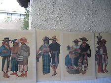 FREDERICK CROKER JR. SIGNED  1950'S GUATEMALA 4 MAYAN LITHOGRAPHS SET UNFRAMED
