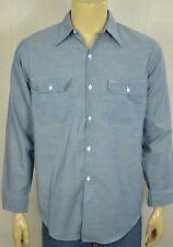 Vtg Big Mac Blue Chambray Selvedge L/S Work Wear Chore Shirt Mens Sz Medium