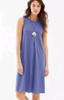 NEW J. Jill S M L Tank Knit A-line Dress Pockets Center Pleat Pima Cotton Blue