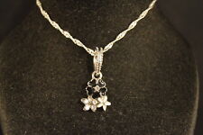 Black  FLOWER CHARM NECKLACE  Fashion Jewelry  BRAND NEW!   USA SELLER!!!