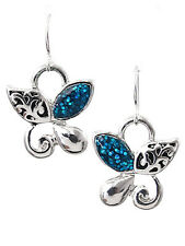 Butterfly Filigree Dangle Drop Blue Glitter Silver Tone Women Earrings