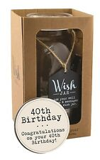 Splosh Glass Wish Jar 40th Birthday Party Guest Wishes & Pen Celebrate Gift Set