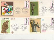 Lot 4 enveloppes 1er Jour timbrée 1974 EUROPA artiste RODIN sculptu âge d'airain