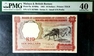 PMG 40 EF 1961 MALAYA & BRITISH BORNEO 10 Dollars B/Note(+FREE1 B/note)#17112