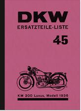 DKW KM 200 Luxus Ersatzteilliste KM200 Ersatzteilkatalog Teilekatalog Spare Part