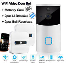 Wireless Camera WiFi Video Door Intercom Security +2 Bell Receivers+Battery+Card