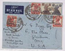 1948 Lahore Cutchcherry Pakistan Overprints India Airmail to Connecticut