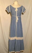 New listing Vintage 1970s Chambray Maxi Dress Blue Short Sleeve Ivory Crochet Lace Small Xs