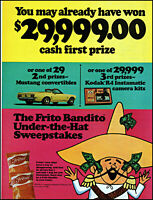 1969 Frito Bandito corn chips under hat sweepstakes vintage art print Ad adL43
