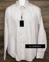 NWT $149 BUGATCHI Men's Shaped Fit White Purple Geometric Long Sleeve Shirt XL