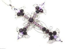 Purple Crystal Cross Women Pendant & Necklace New
