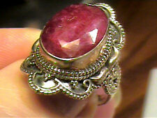 RING NATURAL AFRICAN RUBY 7 silver 925 real solitaire Indian old vintage sterlin