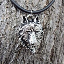 E103 WOLF HEAD PENDANT UNISEX NECKLACE MEN PEWTER WILD BIKER LADY ORNAMENT CHAIN