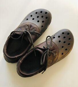 Crocs Leather Islander Sport Boat Shoe Men's Size 12 Espresso Lace Up