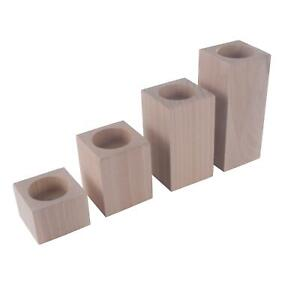 Square Traditional Beechwood Tea Light Candle Holders / Decorative / Unpainted