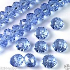 HOT 70pcs Light Blue Faceted Austria Crystal Gemstone Loose Beads 6X8mm