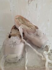 Vintage Pair of Silver tone Pale Pink French Ballet Pointe Shoes Tulle Pom Pom's