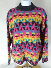 Vtg 80s Kitty Hawk Pink Multi color Geometric Triangle Mock Neck Sweater~M