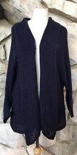 Soft Surroundings Blue Cotton Blend 3/4 Dolman Sleeve Open Cardigan Sweater 2X