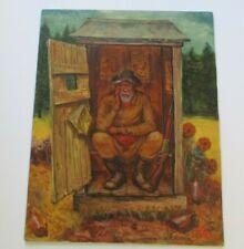 LARGE ALAN WOOD PAINTING BORDELLO PORTRAIT MAN RIFLE PIONEER AMERICANA  SATIRE