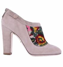 Suede Upper Material Block Heel Floral Boots for Women