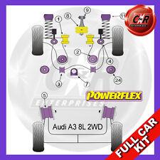 Audi A3 Mk1 2WD Diesel 96-03 Powerflex Full Bush Kit Cast Arms, -10mm Top Mounts