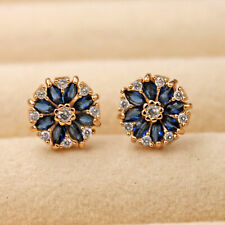 2Ct Marquise Cut Blue Sapphire Pretty Flower Stud Earrings 14K Rose Gold Over