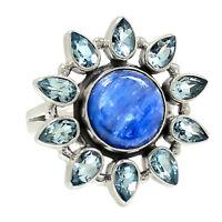 Blue Kyanite & Blue Topaz 925 Sterling Silver Ring Jewelry s.7 RR216467