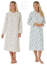 Ladies 100% Brushed Cotton Warm Wincyette Nightdress Nightie Pink/Blue by Marlon