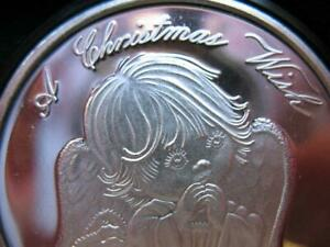 1-OZ.CUTE 2018 CHRISTMAS  ANGEL TREE ENGRAVABLE GIFT BOX .999  SILVER COIN +GOLD